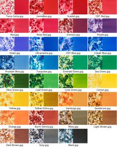 Prussian, cobalt, turkoosi... Brusho Color Chart by Chel Micheline