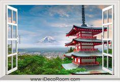 3D Japan Stratovolcano Mount window wall sticker art decal IDCCH-LS-005000