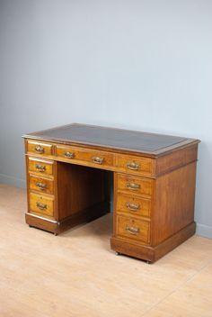 Medium Sized Walnut Pedestal Desk With Burgundy Leather, Victorian C180  Years Old