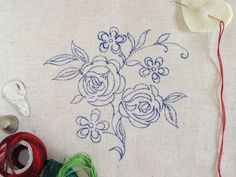 Roses Vintage embroidery pattern Printed on by EmbroideryDreams, ₪55.00