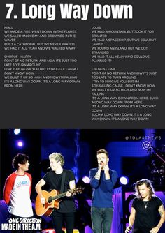 One Direction - Long Way Down Lyrics One Direction Lyrics, One Direction Imagines, I Love One Direction, 1d Songs, Movie Songs, Best Songs, Canciones One Direction, Song Quotes, 1d Quotes