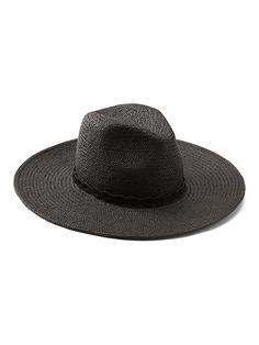 b9943e831ec Banana Republic Womens Wide Brim Panama Hat Black Panama Hat