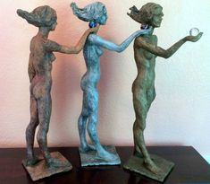 The stages of a woman's life Clay, aluminum, bronze, glass