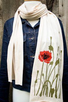 poppy illustration jersey knit scarf creme by flytrap on Etsy, $25.00