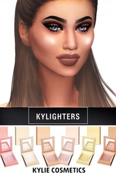 "kenzar-sims4:  "" KYLIE COSMETICS KYLIGHTERS • 6 swatches  • Found in blush  •  Works with Hq.Pictures took with HQ.  • Hope you like it !  • Tag me if you use it !  • Custom specular map for more glow  Download at my blog ! """