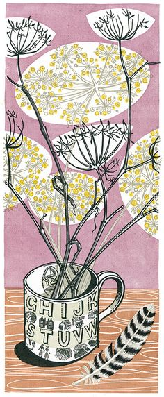 Angie Lewin's 'Alphabet and Feathers' limited linocut print. http://www.angielewin.co.uk