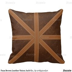 Faux Brown Leather Union Jack Cross Pattern Pillow