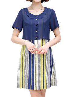 Sale 28% (28.99$) - Casual Women False Two Pieces Dress Short Sleeve Vertical Stripe Chiffon Dresses