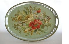 Gorgeous green tole tray