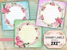 Shabby chic pastel Squares Labels - Vintage Note Stickers - set of 6 (424) Buy 3 - get 1 free #karisagraphic #digitalcollagesheets #digital #collage #sheet # jewelrymaking #etsy #handmade #craft #diy