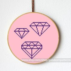 Diamond collection 1 - Counted cross stitch pattern PDF - Geometric - Minimalist
