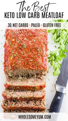 This paleo low carb meatloaf recipe is super easy to make. You need only 8 ingredients and 10 minutes prep time to make the best keto meatloaf! Basic Meatloaf Recipe, Gluten Free Meatloaf, Low Carb Meatloaf, Meat Loaf Recipe Easy, Basic Recipe, Cooking Meatloaf, Homemade Meatloaf, Low Carb Meal, Tasty