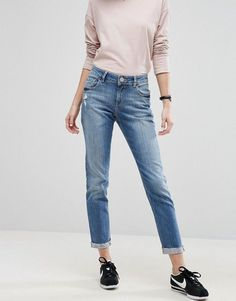 4552fe616127 Asos KIMMI Shrunken Boyfriend Jeans In Clover Mid Stonewash with Raw Hem  Turn-up Mamma