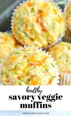 Healthy Savoury Muffins, Vegetarian Muffins, Veggie Muffins, Veggie Snacks, Vegetarian Breakfast Recipes, Savory Snacks, Snack Recipes, Detox Recipes, Tasty Snacks