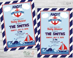 Printable Invitation  Ahoy Its A Boy  Digital File by FlairFour