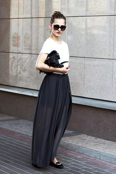 top knot, oversized sunglasses, white tee, leather bag, chiffon maxi skirt & chain loafers #style #fashion #streetstyle #workstyle