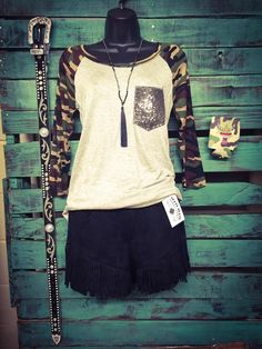 Camo Sleeve Top with Sequin Pocket