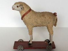 Antique German Sheep Platform Pull Toy 100 All Original Excelllent Condition | eBay