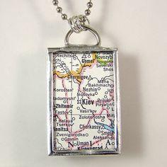 Kiev Vintage Map Pendant Necklace by XOHandworks $20