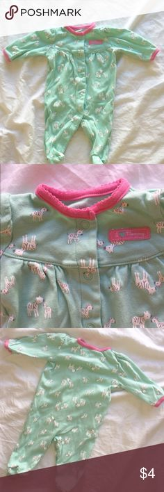 Mint & Hot Pink Zebra Footsie Pajamas. These are practically new, my baby only got one wear out of these! Just One You made by Carter's Pajamas