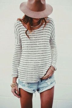 casual style obsession / hat + top + denim shorts