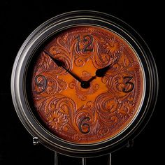 Carved Leather Wall Clock
