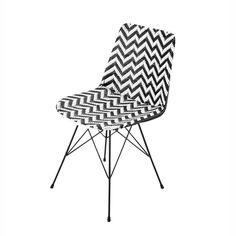 Chaise en résine tressée et métal noire/blanche | Maisons du Monde