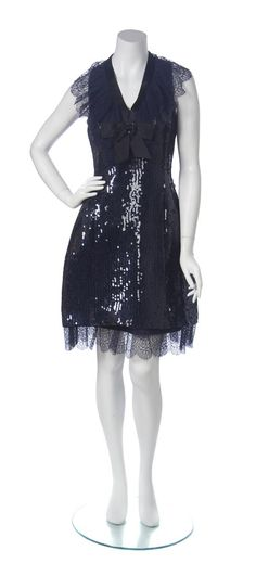 A Chanel Navy Sequin and Taffeta Skirt Ensemble, Size 42     Luxury Accessories and Vintage Fashion     December 9, 2014     Online Only