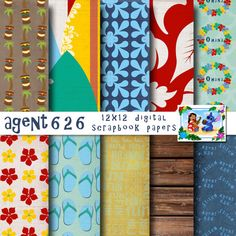 Disney  Lilo & Stitch Inspired 12x12 Digital Paper Backgrounds for Digital Scrapbooking - Party Supplies -INSTANT DOWNLOAD -