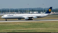 Lufthansa Airbus A340-642 (registered D-AIHA; photo by Andras Soos)