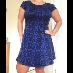 Velvet Vintage Blue & Black Dress Gently worn beautifully symmetric velvet fabric dress. S.L. Fashions Dresses Asymmetrical