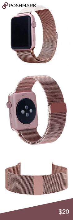 Watch Band for Apple Watch (Rose Gold) Milanese Loop Band For Apple Watch Series 1,2&3  Need to replace your Apple Watch Band?? Look no further this is the band you need. It will fit series 1,2,&3. This band is made of woven stainless steel.  Adjustable Magnetic Closure. Length 42mm Color: Rose Gold Apple Watch not INCLUDED Note: Band not made by Apple Accessories Watches