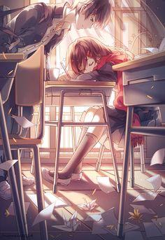 Cute Anime Couple | Desk | Classroom | Happy | Pretty | Beautiful | Lovely