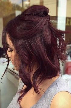 10 Seriously Easy Hairstyles For Short Hair Hair Color dark red hair color Ombre Hair Color, Hair Color Balayage, Mahagony Hair Color, Dark Red Haircolor, Subtle Balayage, Color Streaks, Pelo Color Vino, Wine Hair, Hair Color For Women