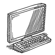 Computer Terminal Monitor Keyboard Drawing