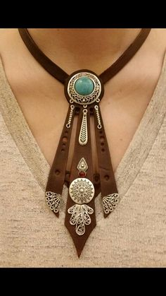 But tone down the western element Leather Carving, Leather Art, Leather Cuffs, Leather Necklace, Leather Tooling, Leather Jewelry, Custom Leather, Clay Jewelry, Boho Jewelry