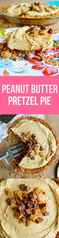 Peanut Butter Pretzel Pie - Salty pretzel & graham cracker crust, decadent peanut butter mousse filling, and peanut butter cup and Nutter Butter topping. So easy and ridiculously delicious! Peanut Butter Pretzel, Peanut Butter Recipes, Nutter Butter, Easy Desserts, Delicious Desserts, Yummy Food, Pie Dessert, Dessert Recipes, Yummy Recipes