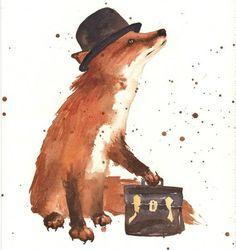 Fox, Hat & Bag print.