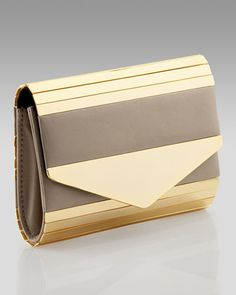 Metallic Paneled Clutch by Pour la Victoire at Neiman Marcus.