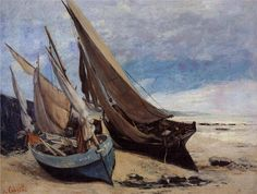GUSTAVE COURBET (1819-1877): FISHING BOATS ON THE DEAUVILLE BEACH (1866) (www.facebook.com/madarjosblog/photos)