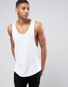 4a6c43413e95ad ASOS Longline Tank With Extreme Racer Back And Curved Hem In White at  asos.com