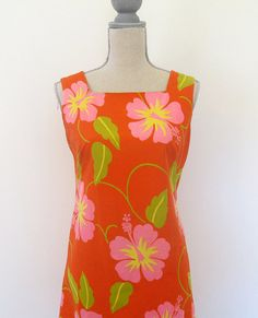 60s Malihini Red Hibiscus Print Hawaiian Shift by retrorocketgirl, $18.00