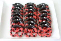 Ladybug pretzels....ladybug party theme