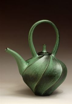 Green Carved Teapot by Jim Connell #Ceramics #Teapot