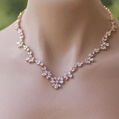 Bridal Necklace, Crystal Necklace, Drop Necklace, Gold Necklace, Rose Gold Wedding Jewelry, Crystal Wedding, Diamond Solitaire Necklace, Diamond Jewellery, Swarovski