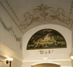 entrance hall with mural, ornament, and finishes by Lynne Rutter