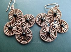 Wire Wrapped Spiral Copper Earrings Dangle by LovePotionDesign, €60.00