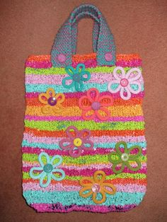 Recycled/upcycled knitted bag made from plastic bags with knitted trim