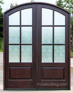 Whitehawk Double Door With Rain Glass Like This But In White And Not  Straight Across At Top Instead Of Curved    6 Panes Of Equally Size Rain  Glass Panels