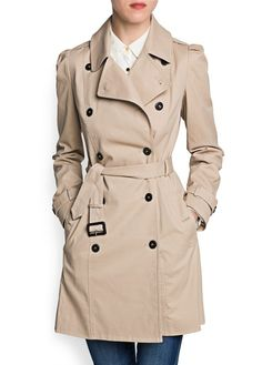 Puff shoulder cotton trench coat  599,-